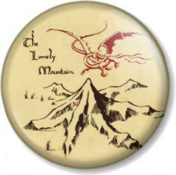 The Lonely Mountain Pinback Button Badge The Hobbit JRR Tolkien Novelty Geek